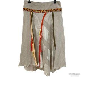 Free People Asymmetric Linen Raw Hem Skirt0EUC